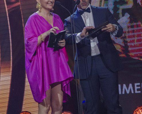 """Carlos Díaz y Carolina Paulsen, presentadores de los ganadores de """"Mejor Actor y Actriz de Soporte en """"Categoría Series"""""""
